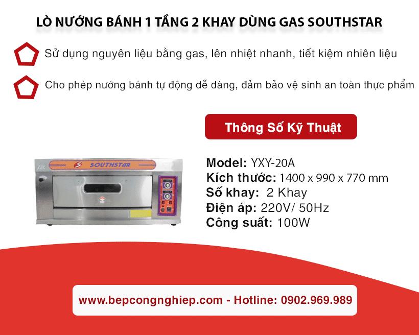 lo nuong banh 1 tang 2 khay dung gas Southstar YXY 20A banner 1