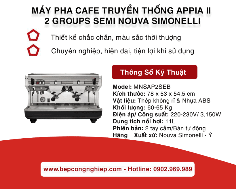 may pha cafe truyen thong appia ii 2 groups semi nouva simonelli banner 1